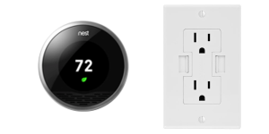 Nest learning thermostat & Power2U AC/USB wall outlet